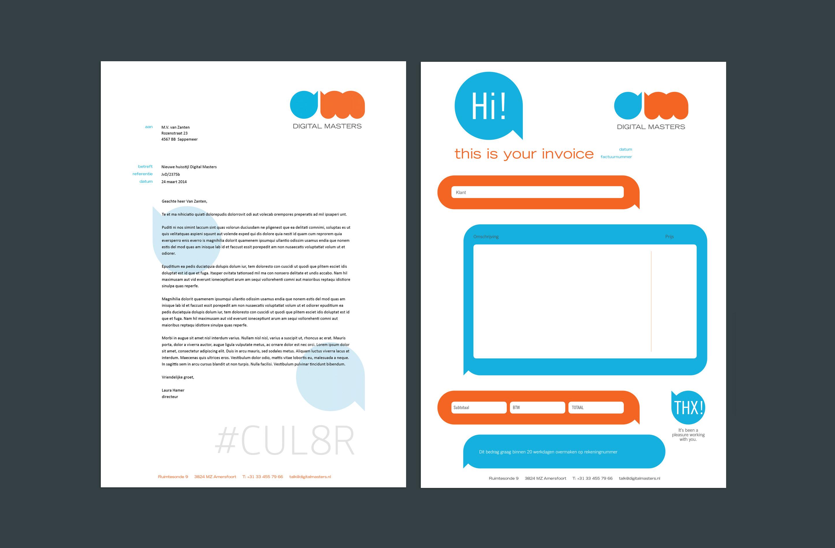 briefpapier en factuur Digital Masters